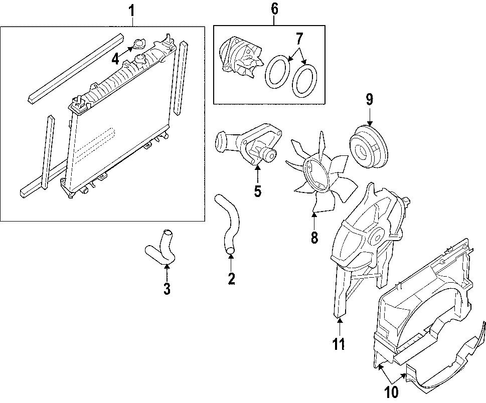 Nissan Pathfinder Radiator Coolant Hose (Upper, Lower). 4