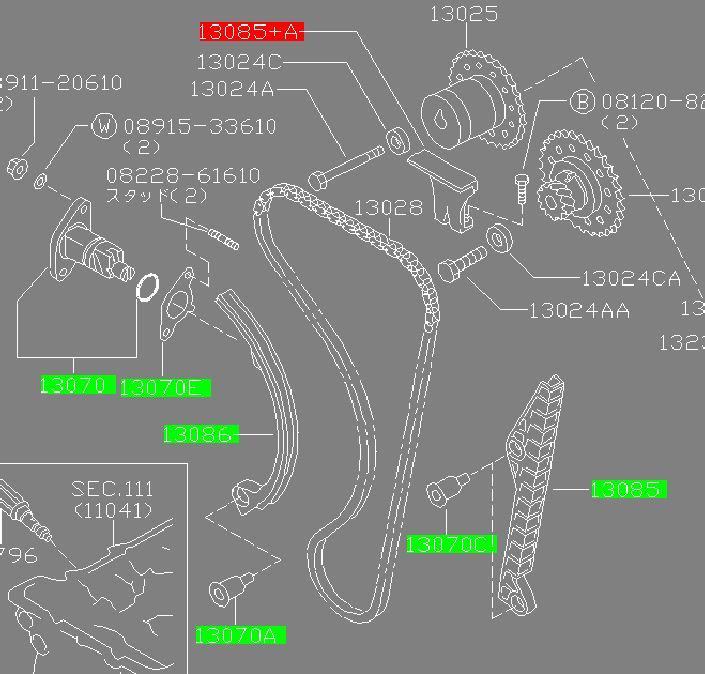 Genuine OEM Nissan SR20DE/T Timing Chain Kit