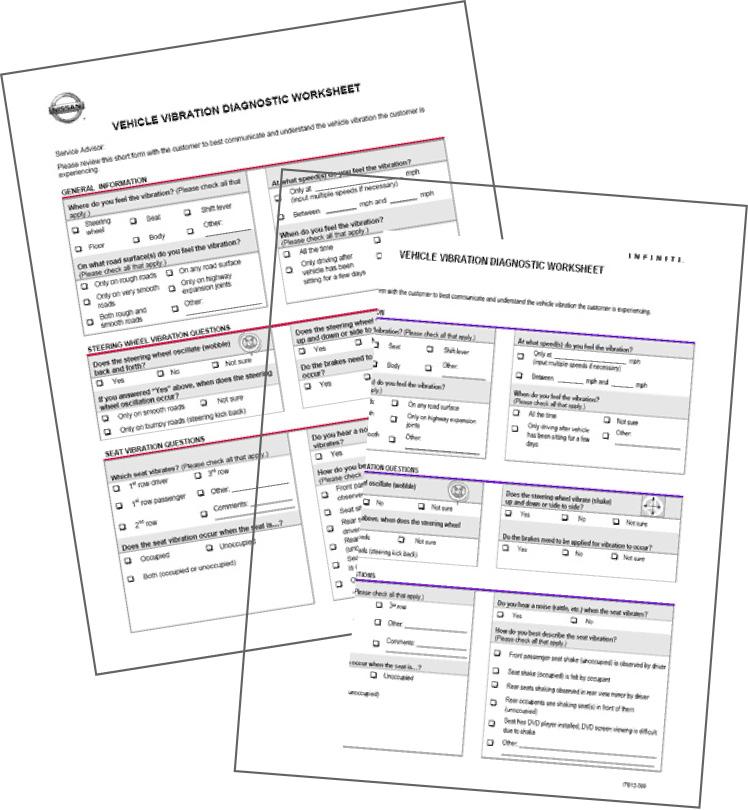 Vehicle Vibration Customer Diagnostic Worksheet