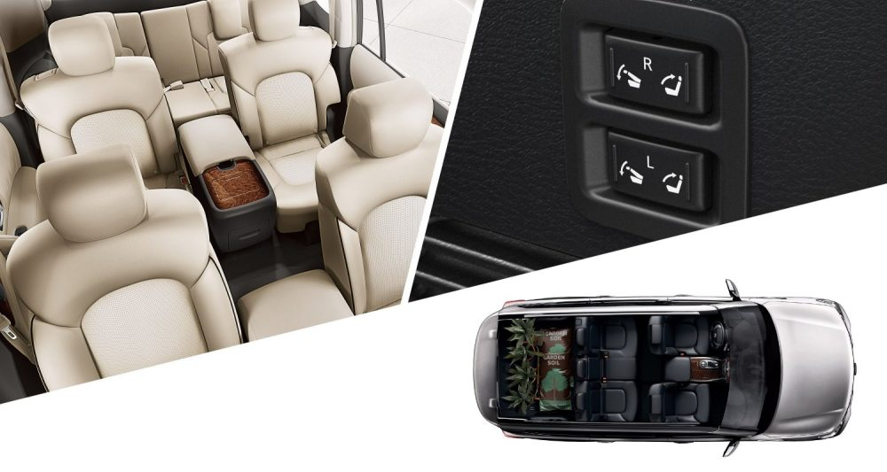 medium resolution of nissan armada collage showing seating seat buttons and overhead view of interior