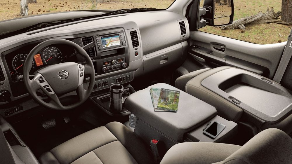 medium resolution of nissan nv passenger interior showing large space