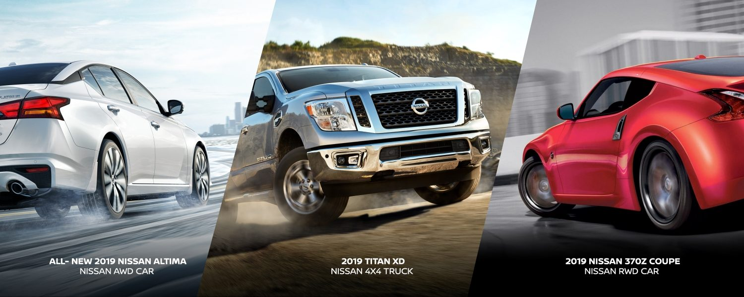 hight resolution of awd nissan altima 4x4 titan xd and rwd 370z coupe