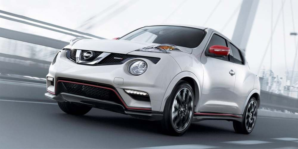 medium resolution of 2017 nissan juke nismo shown in pearl white with red color studio accessories