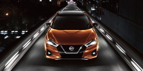 small resolution of 2019 nissan maxima in sunset drift chromaflair leaving city at night
