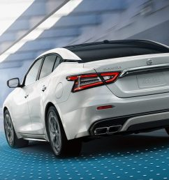 2019 nissan maxima in pearl white tricoat driving through tunnel [ 1500 x 750 Pixel ]
