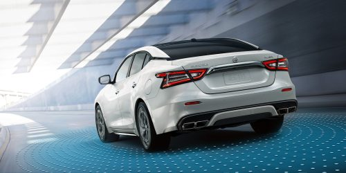small resolution of 2019 nissan maxima in pearl white tricoat driving through tunnel