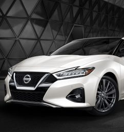 2019 nissan maxima pearl white tricoat in front of city skyline at night [ 1500 x 750 Pixel ]
