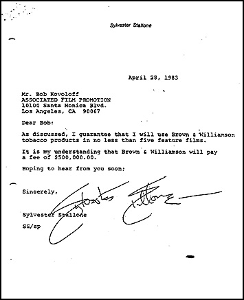 Sylvester Stallones brev till tobaksindustrins representanter