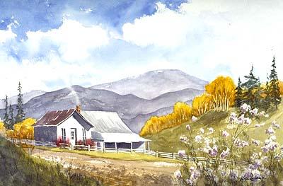 Colorado Homestead Original Watercolor Painting By Nita Leland