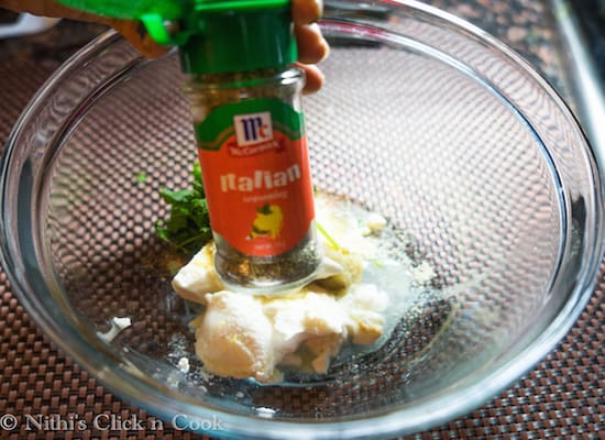 now add 1 tsp go italian mixed seasoning, this gives an excellent flavour to this dish