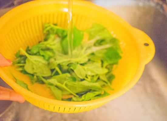 Wash the spinach in running water.