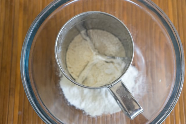 Mean while will make the cake batter, sift flour and baking soda in a mixing bowl