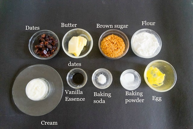 Ingredients to make Sticky Toffee cupcake