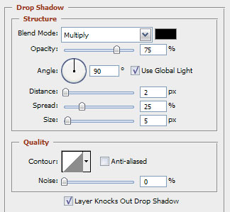 Set your drop shadow
