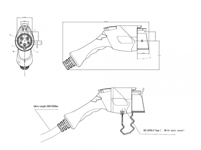 SAE J1772 Type 1 To IEC 62196-2 Type 2 EV Charging Plug