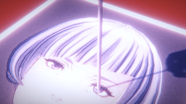 Scene from AI The Somnium Files trailer of a nail being pulled from a photo of a woman's eye