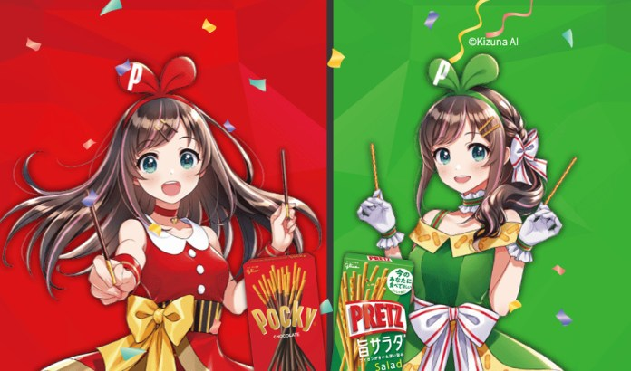 Kizuna AI in red and green dresses celebrating Pocky and Pretz day