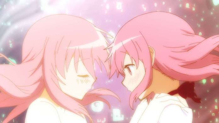 Madoka Kaname from Puella Magi Madoka Magica and her inner self embrace one another.