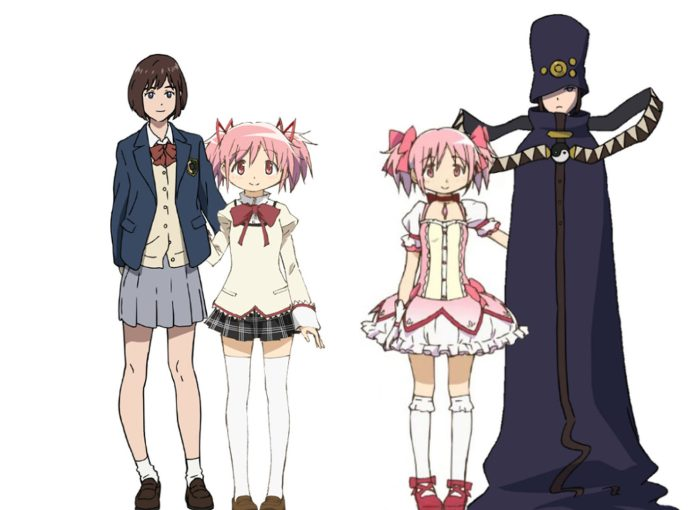 Left: Touka Miyashita standing with Madoka Kaname; Right: Madoka Kaname in her magical girl outfit standing with Boogiepop