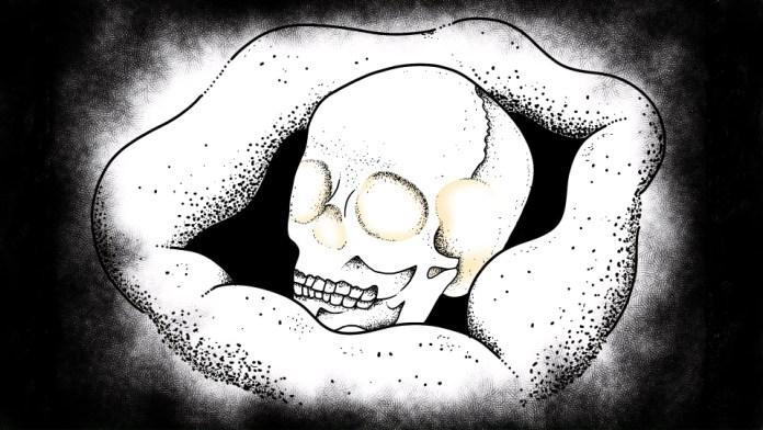 Iris Sagan NAIXATLOZ video from AI The Somnium Files screenshot of a skull.
