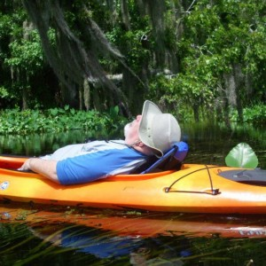 The Turkey catches a few Zs in his kayak.