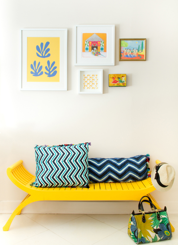 Cheerful yellow chair in living room
