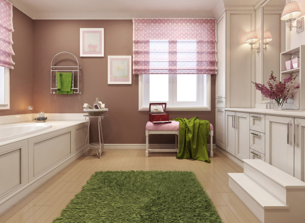 Pink and Green Kids Bathroom