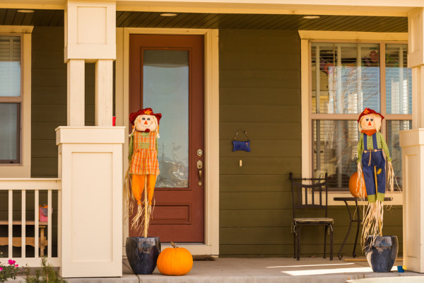 Scarecrows On Front Porch