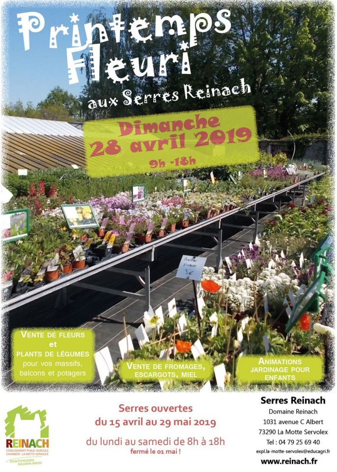 Serres ouverte du 15 avril au 29 mai 2019 à Reinach