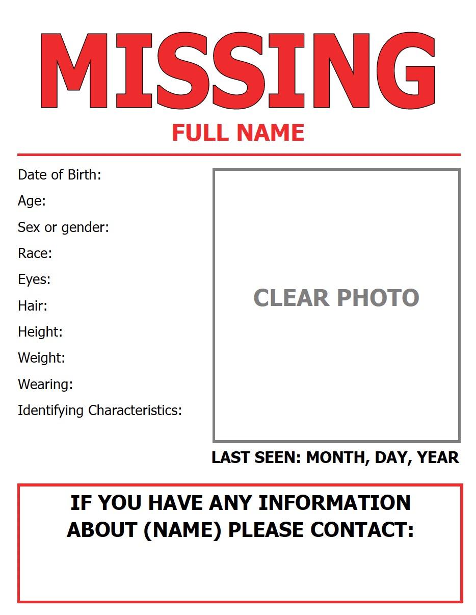missing person flyer niwrc