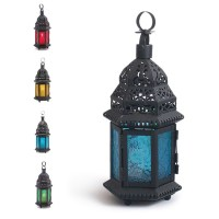 Glass Metal Moroccan Delight Garden Candle Holder Hanging ...