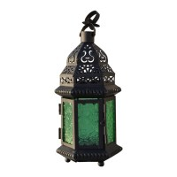 Glass Metal Moroccan Delight Garden Candle Holder Table