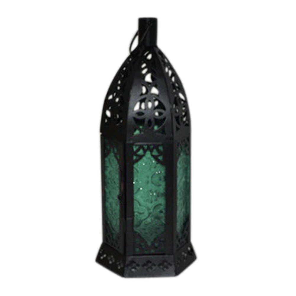 Glass Metal Moroccan Delight Garden Candle Hanging Lantern