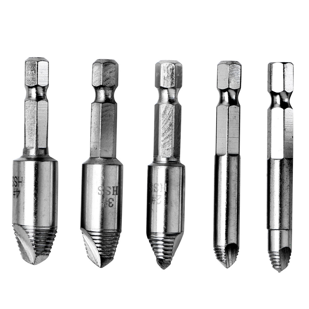 5Pcs Broken Screw Extractor Speed Easy Out Remover Drill
