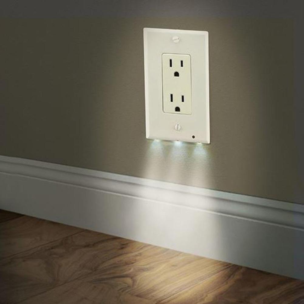 2in1 Duplex Bathroom Night Light Sensor LED Plug Cover