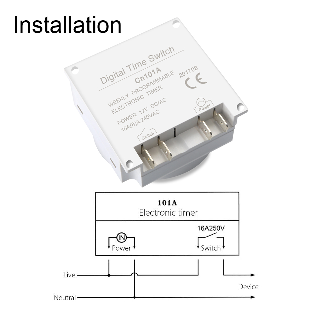 CN101 DC 12V Digital LCD Power Programmable Timer Relay