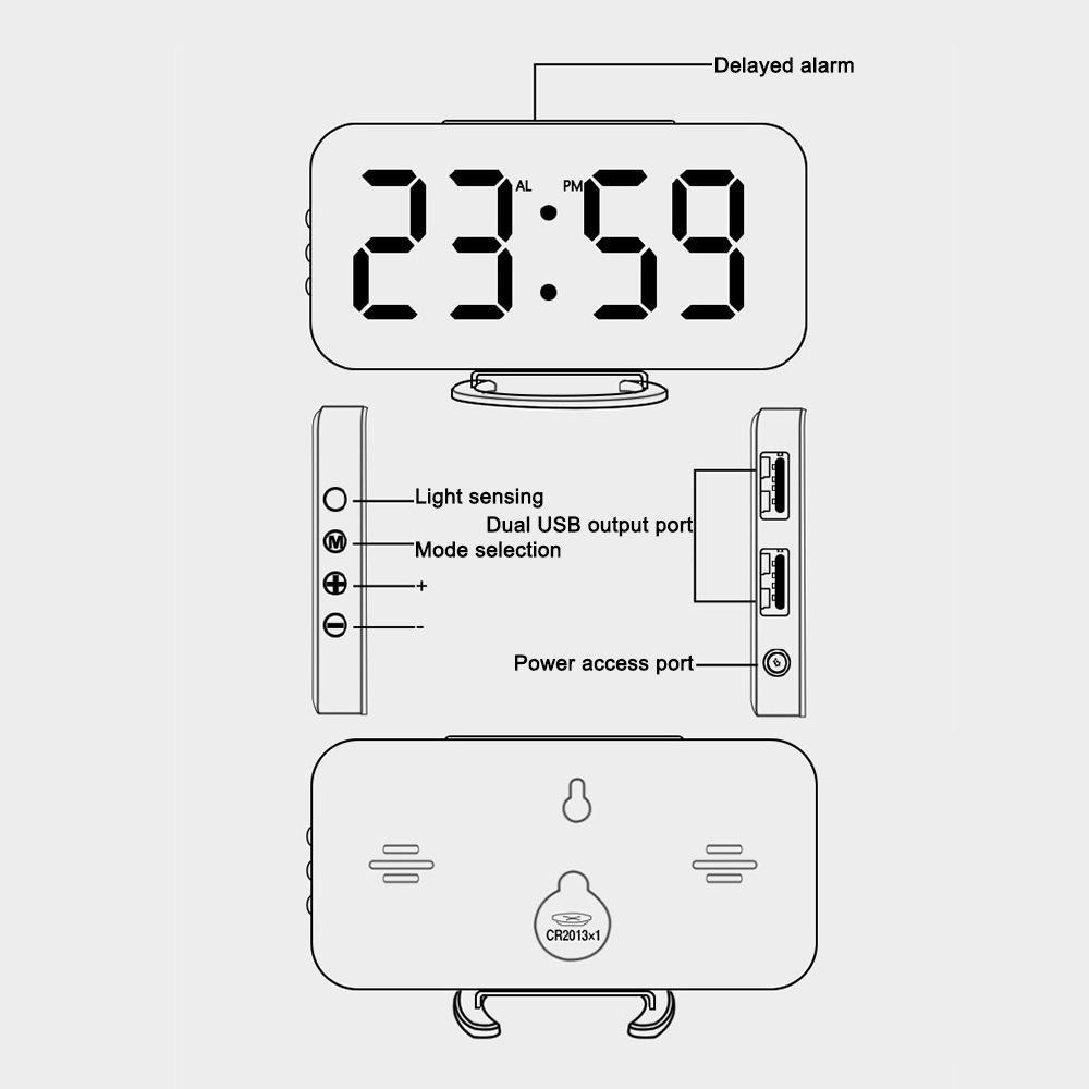 Digital LED Alarm Clock Make-up Mirror Table Desktop Decor