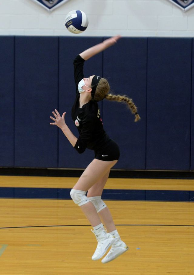 GCIT's Alexis Caltabiano (16) serves the ball during a girls volleyball match against OLMA, Saturday, April 10, 2021.