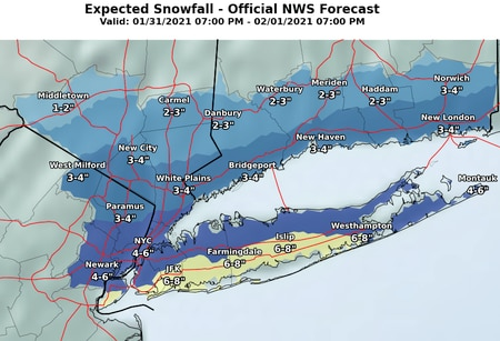 NJ weather - updated snow forecasts 1-29-21 5 pm