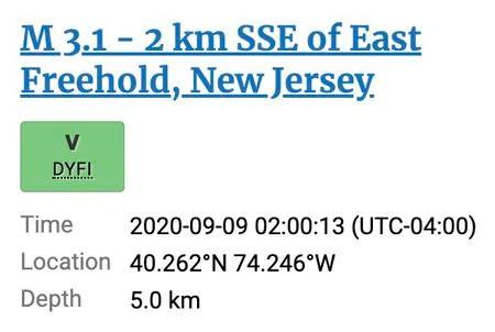 USGS earthquake report in N.J.