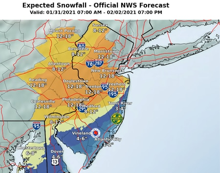 NJ weather - updated snow forecast 1-30-21 3:15pm