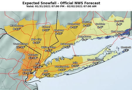 NJ weather-updated snow forecast NWS NYC