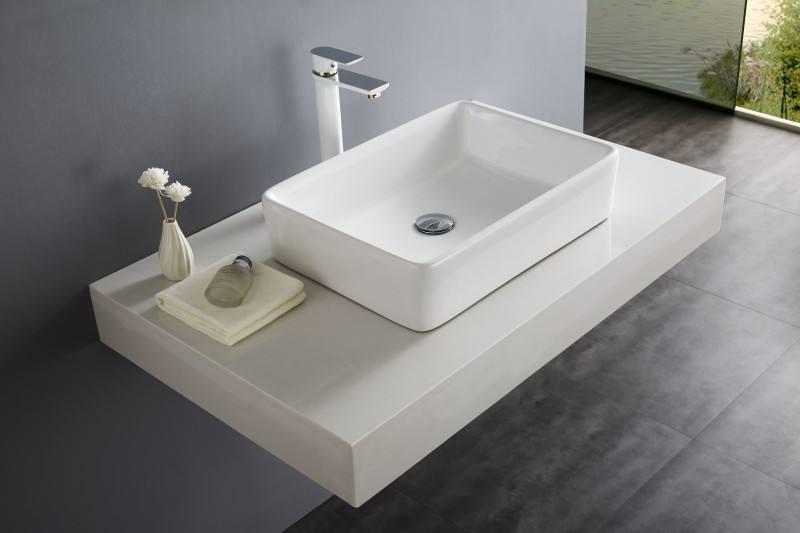 Umywalka nablatowa prostoktna NT3153 biaa ceramika 52 x