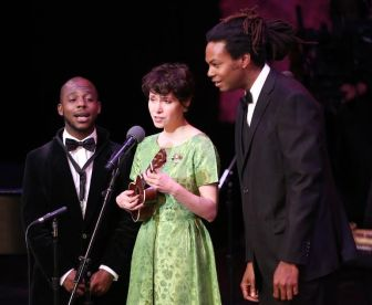 Nellie McKay with bandmates Tivon Pennicott, left, and Kenneth Salters, at the New Jersey Performing Arts Center in Newark on Sunday.