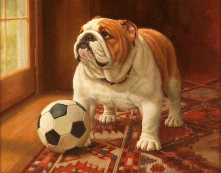 """Ready to Play,"" by Pamela Hall, is part of the Morris Museum's exhibit, ""The Dog Show: The Art of Our Canine Companions."""