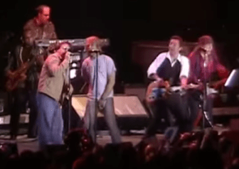 From left, Southside Johnny, Jon Bon Jovi, Bruce Springsteen and Steven Van Zandt perform together at Convention Hall in Asbury Park in 2003.