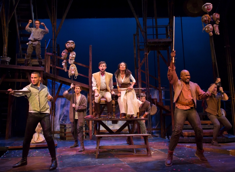 """The ensemble in """"Camelot,"""" which is at Two River Theater in Red Bank through Dec.  14."""