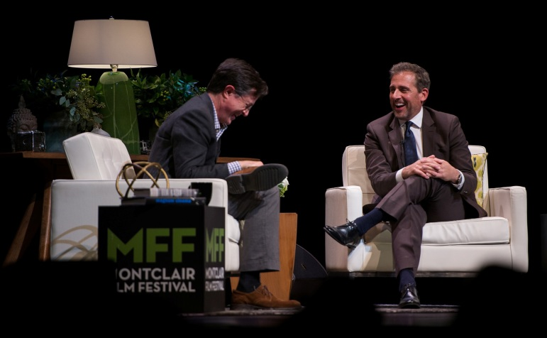 Stephen Colbert interviewed Steve Carell at the New Jersey Performing Arts Center in Newark, Friday.
