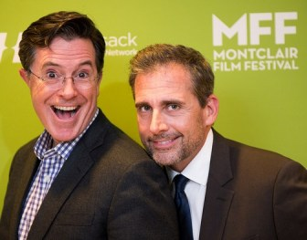 Stephen Colbert and Steve Carell in Newark.