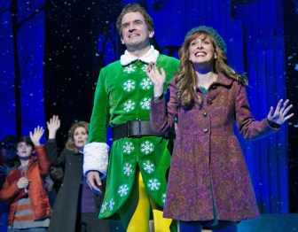 "From left, Jake Faragalli, Heidi Blickenstaff, James Moye and Kate Fahrner co-star in ""Elf."""
